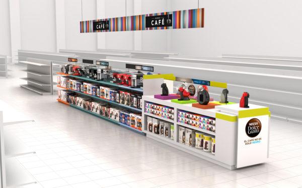 Propuesta mobiliario Dolce Gusto y lineales supermercado / Ilustración 3D