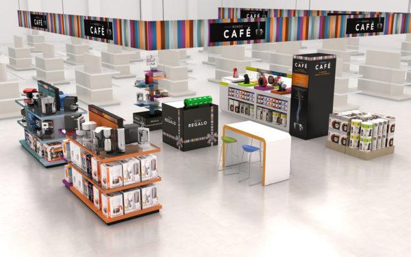 Propuesta mobiliario Dolce Gusto y lineales supermercado.