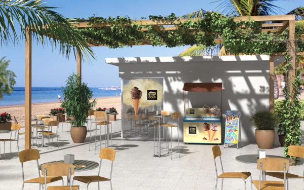 Helados Nestlé - Disposición bar playa / Ilustración 3D