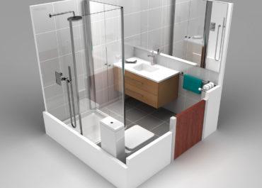 Proyecto baño pequeño - Ilustración 3D