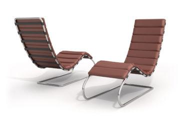 Chaise longue Mies Van der Rohe brown - ilustración 3D