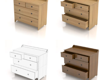Comoda Leksvik wood IKEA - Ilustración 3D