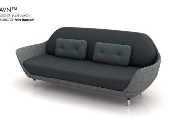 RFH Favin Sofa Black - Ilustración 3D