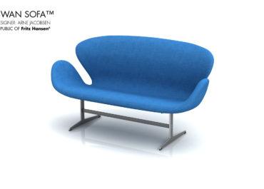 RFH Swan Sofa Blue Canvas - Ilustración 3D