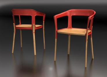 Silla Steel-Wood - Ilustración 3D